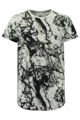 Long length T-shirt met all over print