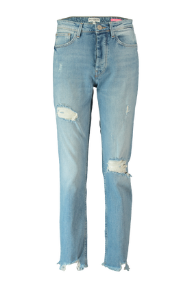 Straight fit jeans met ripped details
